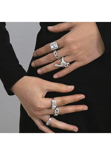 Modlily Rhinestone Silver Metal Detail Rings for Women - One Size