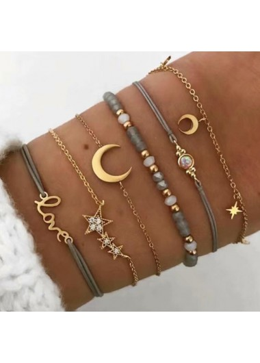 Modlily Layered Letter and Star Design Gold Bracelets - One Size