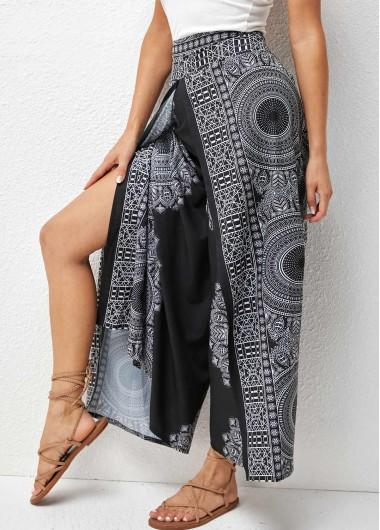 Modlily Printed Side Slit High Waist Pants - XL