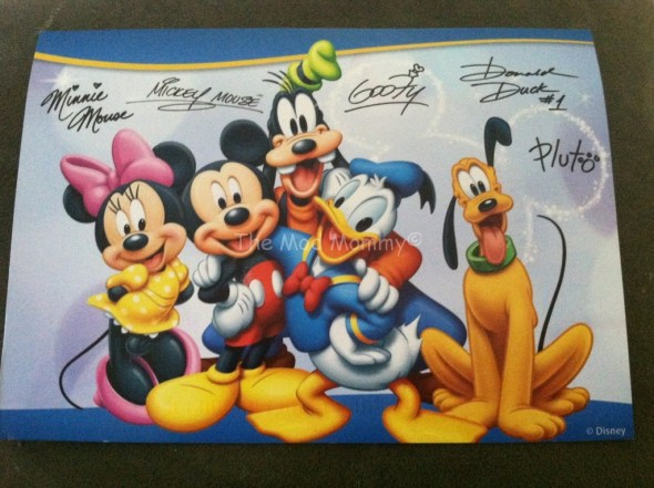 Autographed card of Mickey Mouse and friends