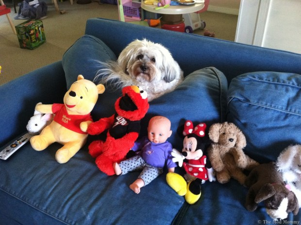 Riley with stuffed animals