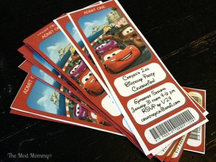 DisneySide Cars themed party invitation