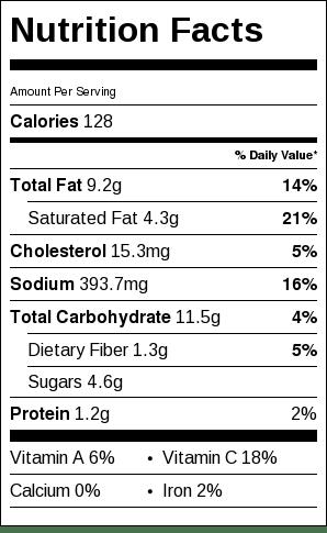 Spicy Popcorn Nutrition Label