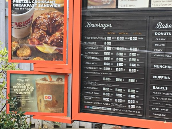 Iced Coffee Day signage at Dunkin' Donuts