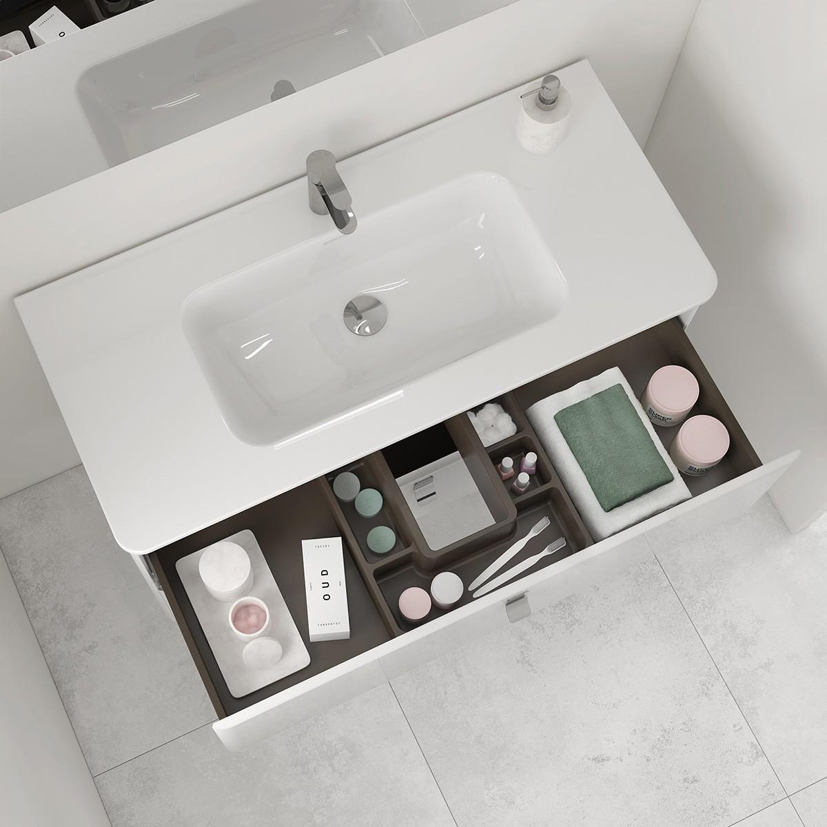 an integrated bathroom sink