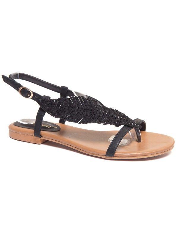 sandale noire avec decoration style plume