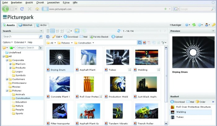 Screen image fo Picturepark Digital Asset Management System