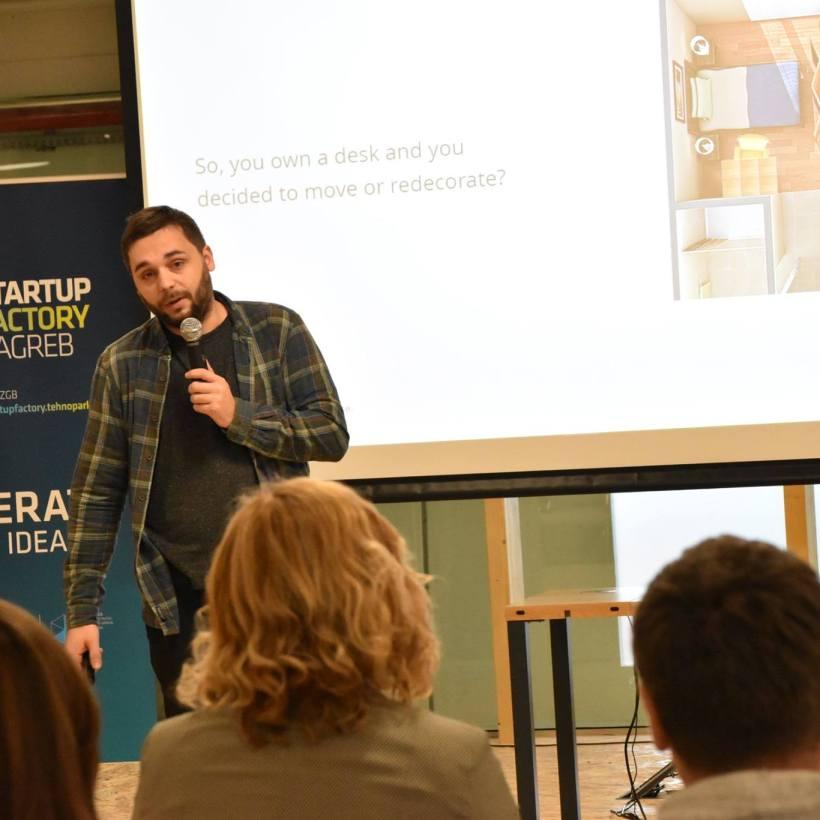 Prezentacija ideje o modularnom stolu uoči startup natjecanja Startup Factory Zagreb