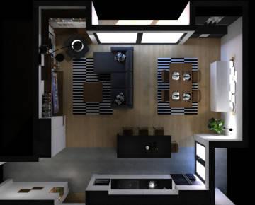 Render koji prikazuje opremanje uredskog prostora uredskim stolovima Modular by Modulos