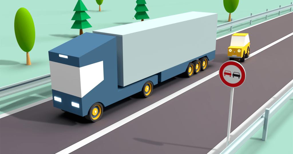 Předjíždění kamionu na plné čáře