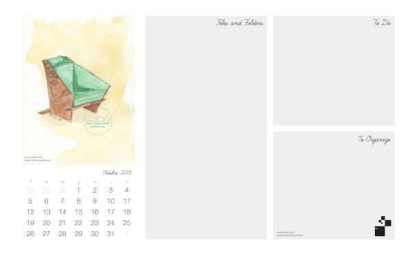 Octubre Calendario acuarela paukf October Calendar watercolor modus vivendi arquitectura Frank Lloyd Wright architecture design chair silla usonian geometría geometry