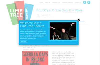 Modus has just launched the web site for the Lime Tree Theatre – Limerick's and Ireland's newest venue for theatre and the performing arts. Based on the campus of Mary Immaculate College in Limerick city centre, the brand new 510 seat theatre will play host to the best in local, national and international performing arts.  To celebrate its opening, the Lime Tree Theatre is delighted to welcome to the city the Abbey Theatre with its iconic production of The Plough and the Stars by Sean O'Casey. The National Theatre comes to Limerick for the first time with a main stage Abbey show in many years and it will be a theatre event of real significance. Theatre lovers from Limerick and throughout the mid-west will be in for a real treat. The official opening will take place on Tuesday, October 30th with the play performing for the rest of the week up to Saturday, November 3rd, nightly at 8pm and two matinees: on Wednesday, Oct 31st and Saturday, Nov 3rd at 2.30pm. Performances in the venue start in mid-September – all you have to do is be sure to sign up and come along!  Visit www.limetreetheatre.ie.