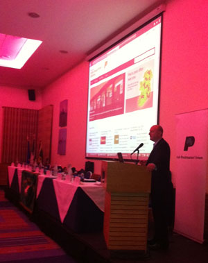 David Henry, Operations Director of Modus I.T. Ltd. speaking at the launch of www.postmasters.ie at the Irish Postmasters' Union Conference in Letterkenny, Co. Donegal.
