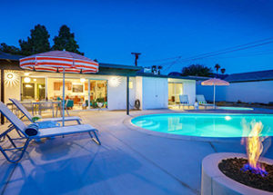 Palm Springs Vacation Rental Plumeria Sands pool at night