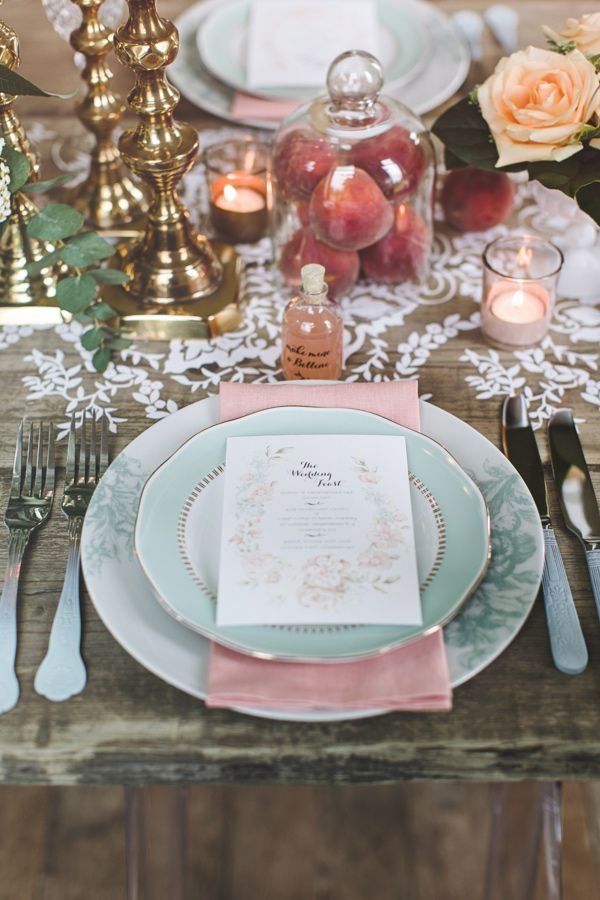 Colorful Country Wedding Table Place Setting