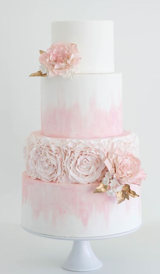 Light Pink Dyed White Wedding Cake   MODwedding More on Cakes   Desserts