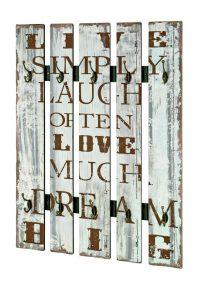 Wandgarderobe Hakku aus Holz, weißer Vintageprint