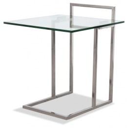 Angesagter Beistelltisch im Bauhausstil. Tisch Ivan überzeugt auf ganzer Linie mit seinen ausgewählten Materialien Edelstahl und Glas