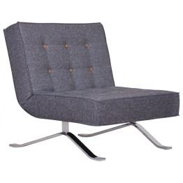 Der Sessel Wave One Grau begeistert durch seine gelben Knöpfen auf grauem Stoff