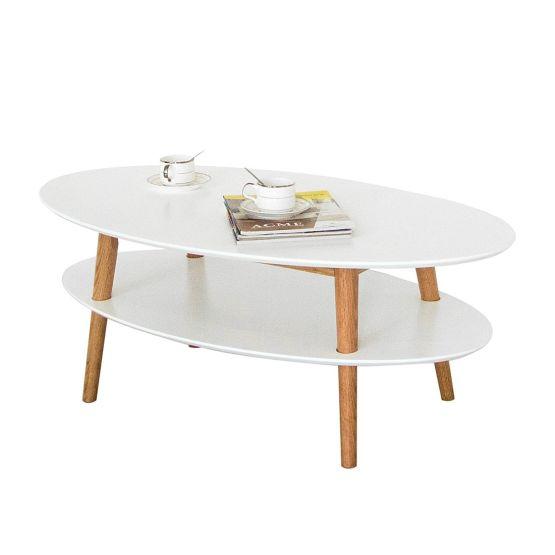 Grazil und charmant macht sich dieses Tischchen aus der Serie Lindholm im Wohnzimmer. Die ovalen Platten und die schlanken Beine machen seine luftig-leichte Erscheinung aus. Die Kombination von weißen Platten und natürlichen Eichenholzbeinen sowie die stilvolle Formgebung zeigen skandinavische Eleganz.
