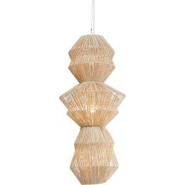 Lampe: Urlaubsfeeling Geflochten aus hellem Rattan verbreitet der Schirm ein angenehm weiches Licht. Mit diesem naturnahen Design bringt die Hängeleuchte eine Brise Sommer