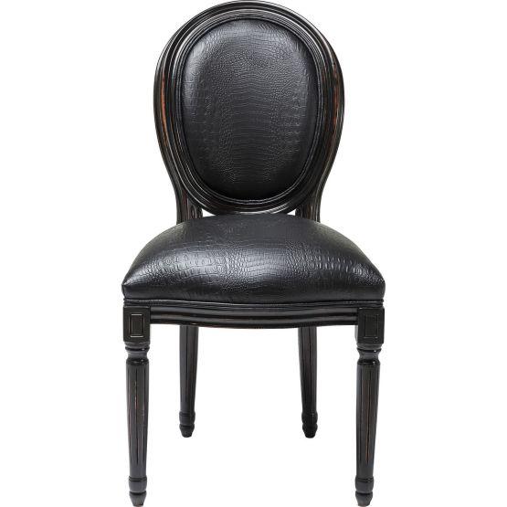Stuhl: Louis seize meets Kroko Extravaganz Die Kombination aus klassischem Formenschatz und extravaganter Stoffwahl zeichnet diesen wunderschönen Polsterstuhl aus! Die Formensprache mit der oval geformten Rückenlehne und den elegant gestalteten Beinen