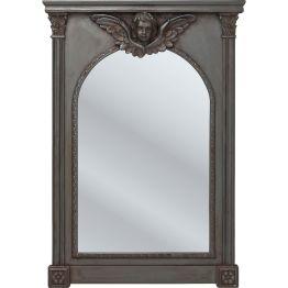 Spiegel: Engelsgleich Ein matt lackierter Spiegel im Renaissance-Stil setzt vorallem den mittig dekorierten Engel durch Authentische Used-Effekte in Szene. Gerahmt von Säulenelementen