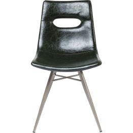 Stuhl: Prägnanter Retro-Sitz: Der Stuhl passt sich mit seiner dunkelgrünen