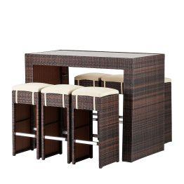 Gartenbar-Set Paradise Lounge (7-teilig) - Polyrattan Braun Meliert