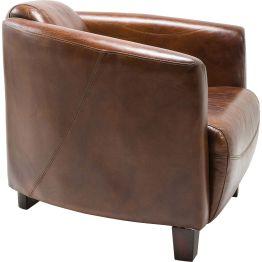 Sessel: Edler Sessel in charmanter Formgebung Aparter Leder Lounger wie aus einem englischen Herren-Club oder einer kubanischen Zigarren-Lounge. Ein Möbelstück für eine lebenslange Freundschaft. Bezug aus hochwertigem Top Grain Rindsleder in einem warmen Braunton. Elegant glänzend. Die runde Formgebung macht nicht nur optisch einiges her