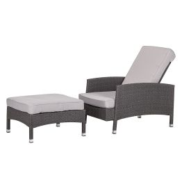 Sessel-Set Paradise Lounge (mit Hocker) - Polyrattan Grau