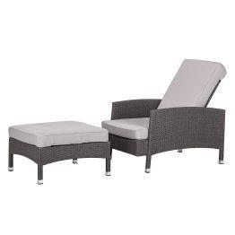 Sessel-Set Paradise Lounge (mit Hocker) - Polyrattan Grau