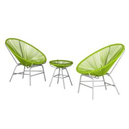 Sitzgruppe Copacabana I (3-teilig) - Kunststoff - Grün / Weiß