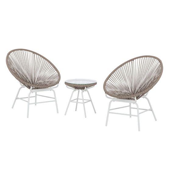 Sitzgruppe Copacabana II (3-teilig) - Kunststoff - Khaki / Weiß