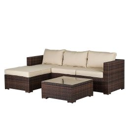 Lounge Set Paradise Lounge (inkl. Tisch) - Polyrattan/Stoff - Braun/Beige