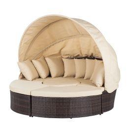 Premium Sonneninsel Paradise Lounge - Polyrattan - Aluminiumrahmen - Braun / Beige