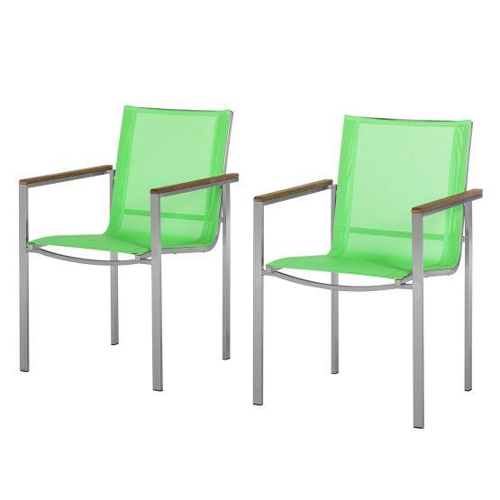 Armlehnenstuhl T-Line (2er-Set) - Metall/Textilene Lindgrün