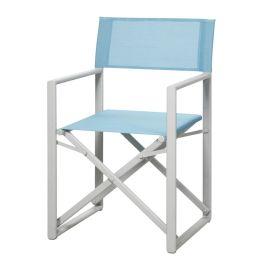 Gartenstuhl Messina - Aluminium/Ergotex - Creme/Hellblau