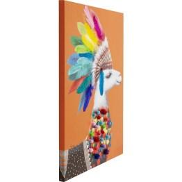 Bild: Zum Schmunzeln Die süßen Lamas und Alpakas sind in allen Variationen die neuen Trend-Lieblinge. Fröhlich bunt ist dieser Bilderdruck auf Leinwand