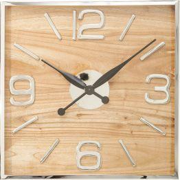 Wanduhr: Bemerkenswerte Uhr Der Materialmix macht das ausgefallene Design dieser Wanduhr aus. Der schmale Rahmen und die grazilen Zahlen aus Edelstahl setzen das Ziffernblatt aus hübsch gemasertem Mangoholz gekonnt in Szene. Passt zum Loftstil