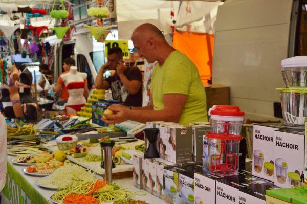 market vendor in Albenga Market