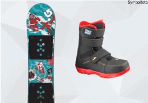 Burton Snowboard für Kinder, Salomon Snowboardschuhe für Kinder, Mogasi