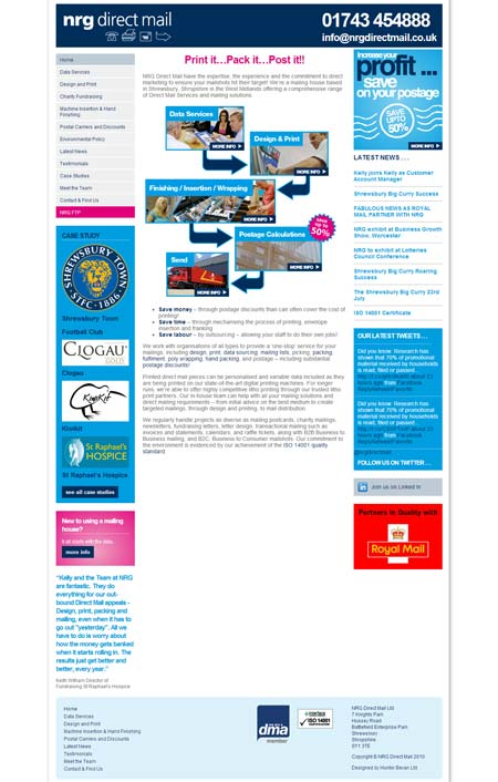 NRG Direct Mail website before