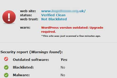 Site check showing outdated WordPress version