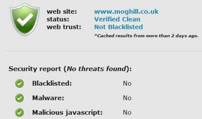 Sitecheck showing clean WordPress site