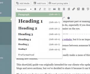 Adding headings in WordPress