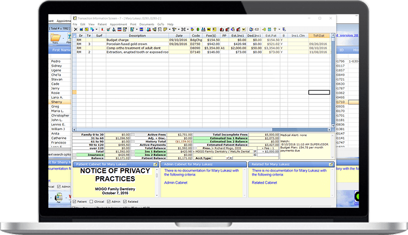 Cloud-Based Dental Practice Management Software Treatment & Payment History