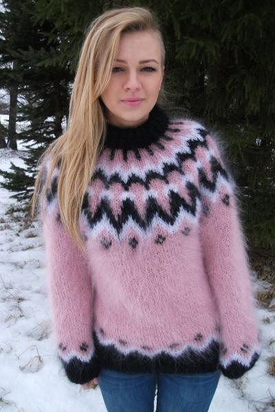 Icelandic Mohair Crewneck Sweater Pink M L Www