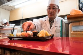 The chef serving the sushi set
