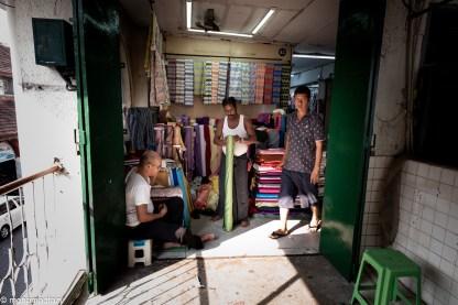 Bogyoke Aung San Market - Fabric seller